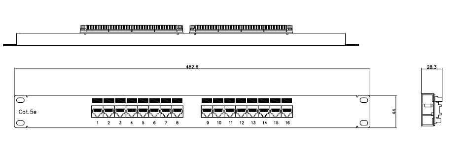 Патч-панель 16 портов категории 5e, PP2-19-16-8P8C-C5e-110D Hyperline